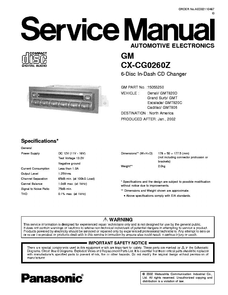 PANASONIC CX-CG0260Z SM Service Manual download, schematics