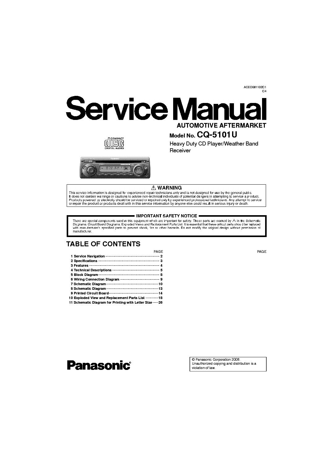 Panasonic Cq Vw100u Wiring Diagram Free Download Aced080107c1 Service Manual Schematics Radio Wire Colors At