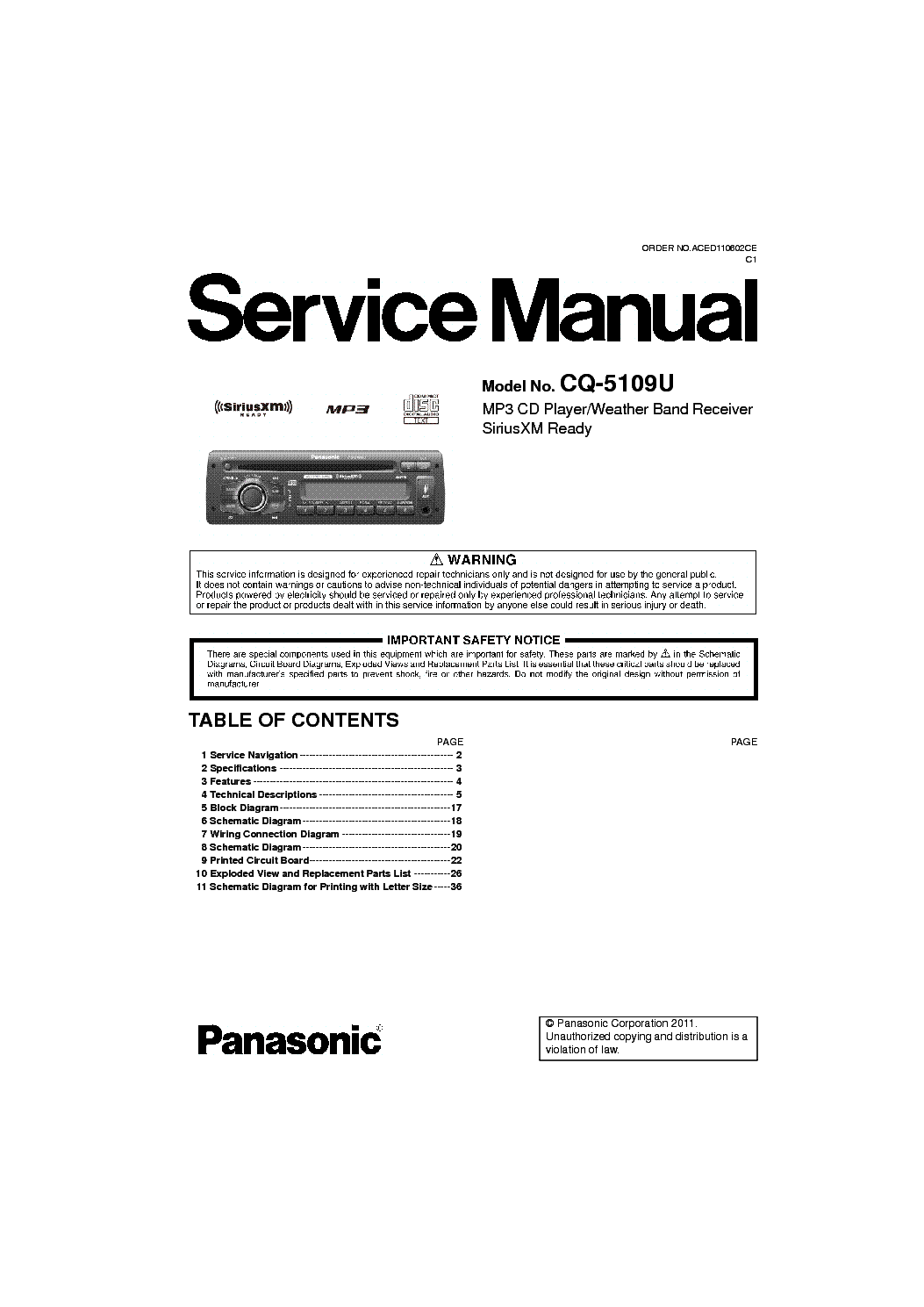 PANASONIC CQ-5109U service manual