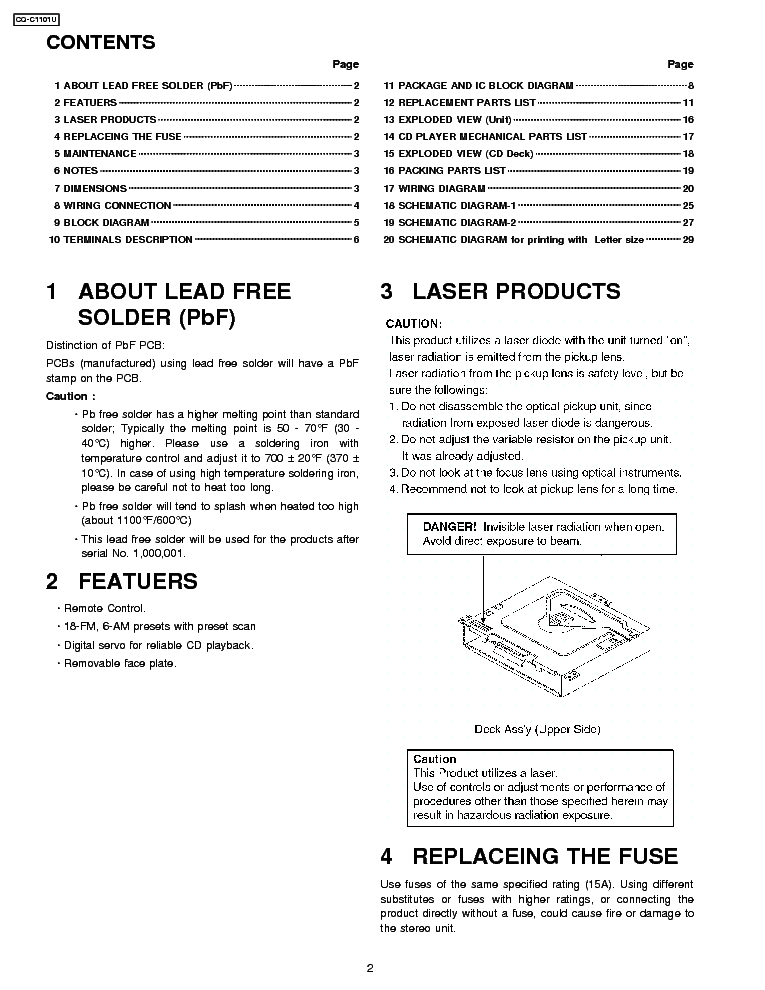 panasonic cq-c1101u service manual (2nd page)