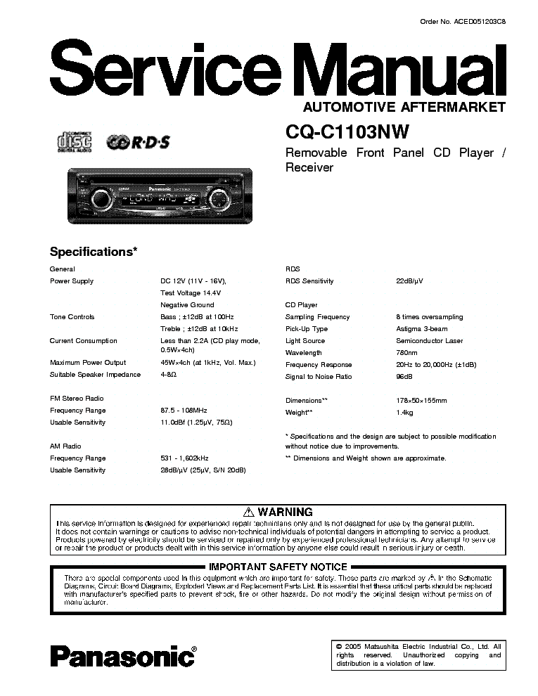 panasonic_cq c1103nw.pdf_1 panasonic cq c700u sm service manual download, schematics, eeprom panasonic cq c7103u wiring diagram at soozxer.org