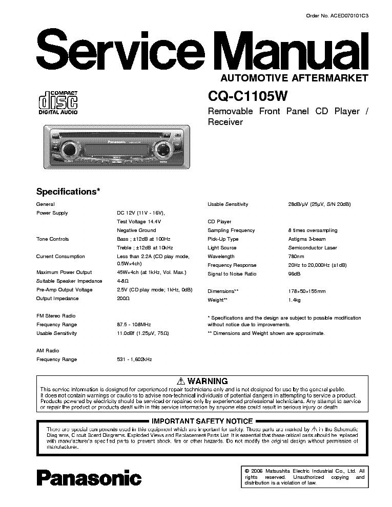 PANASONIC CQ-C1105W service