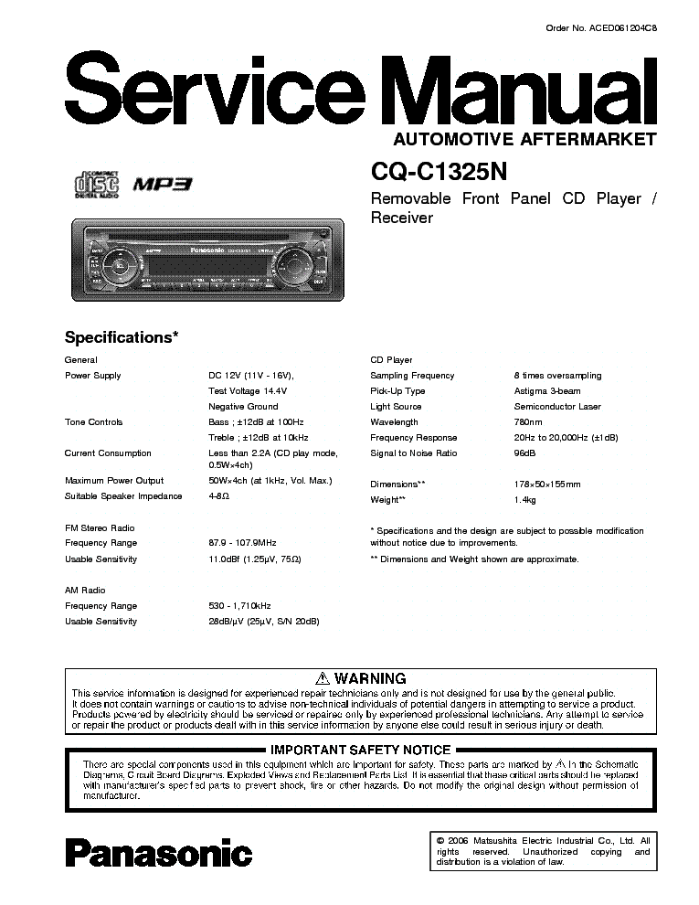 PANASONIC CQ-C1325N service manual