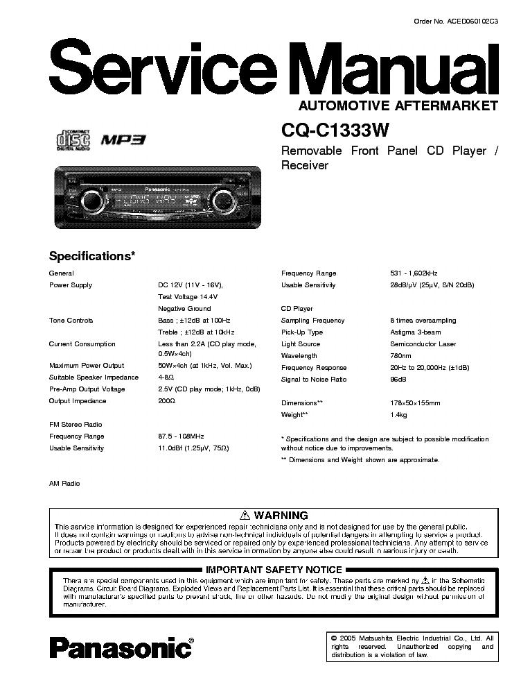 PANASONIC CQ-C1333W service