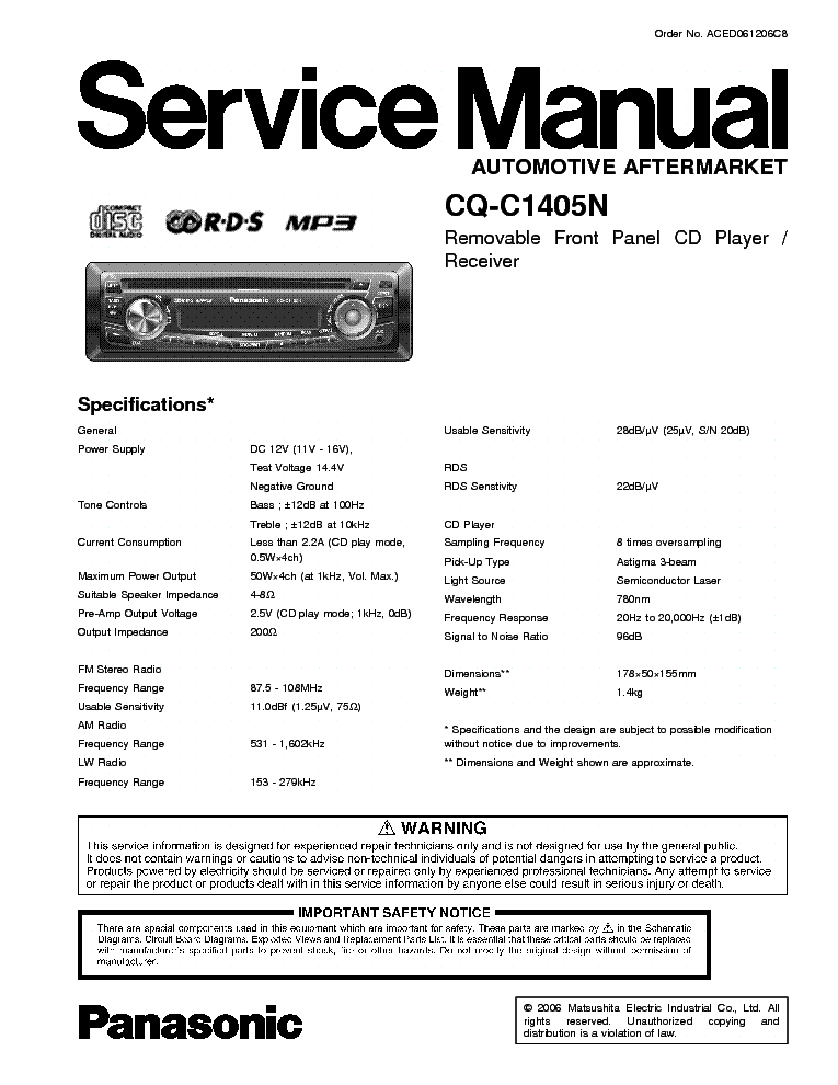 PANASONIC CQ-C1405N service manual