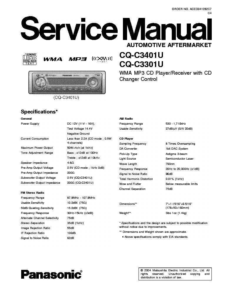 panasonic cq c3401u c3301 car audio service manual free schematics eeprom repair