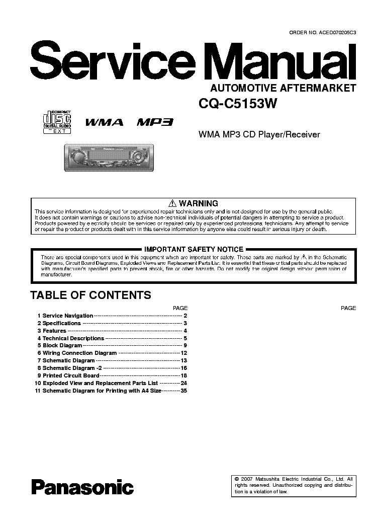 инструкция для panasonic cq-