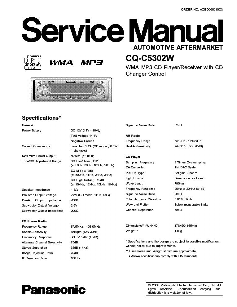 panasonic sa ak250 service manual