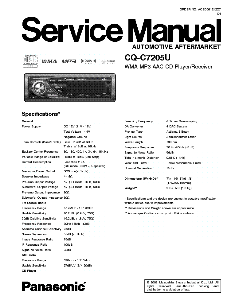panasonic_cq c7205u.pdf_1 panasonic cq c1303nw service manual download, schematics, eeprom panasonic cq c7103u wiring diagram at soozxer.org