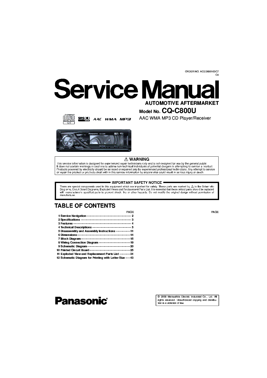 diagram free collection panasonic cq c7103u manual - millions, Wiring diagram