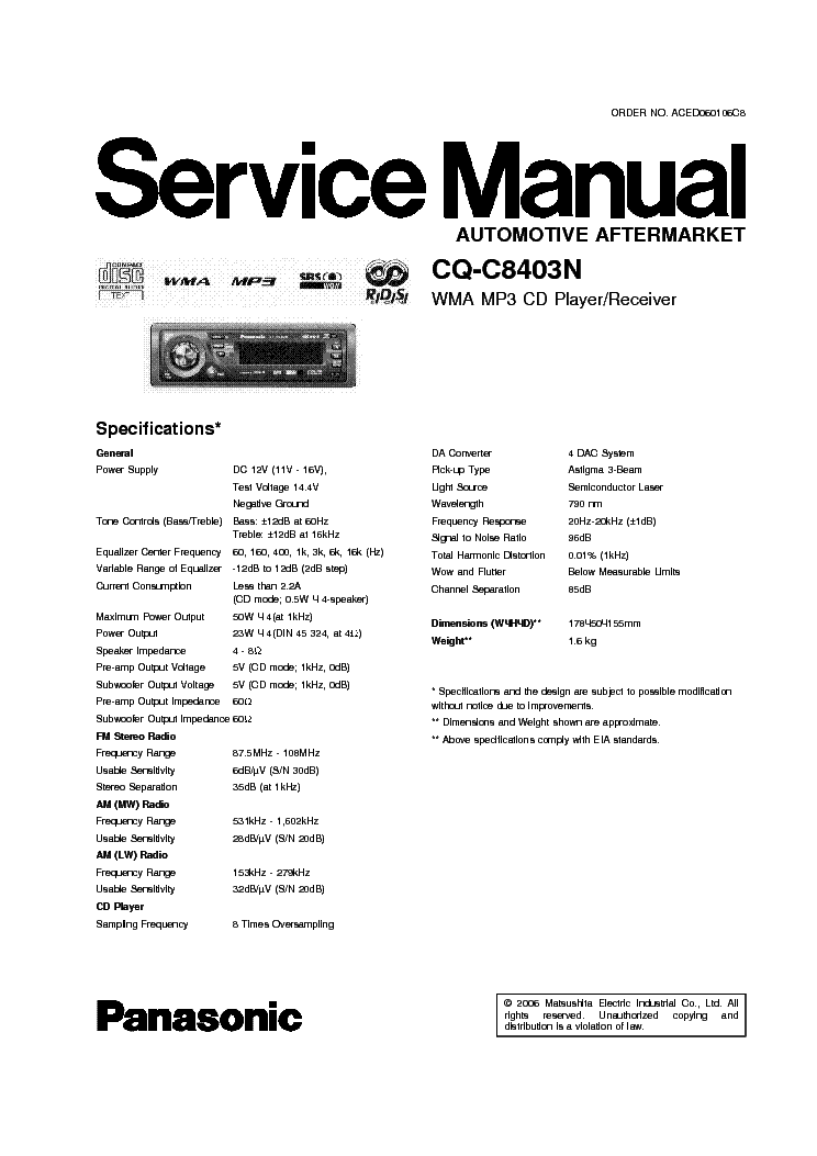 PANASONIC CQ-C8403N service