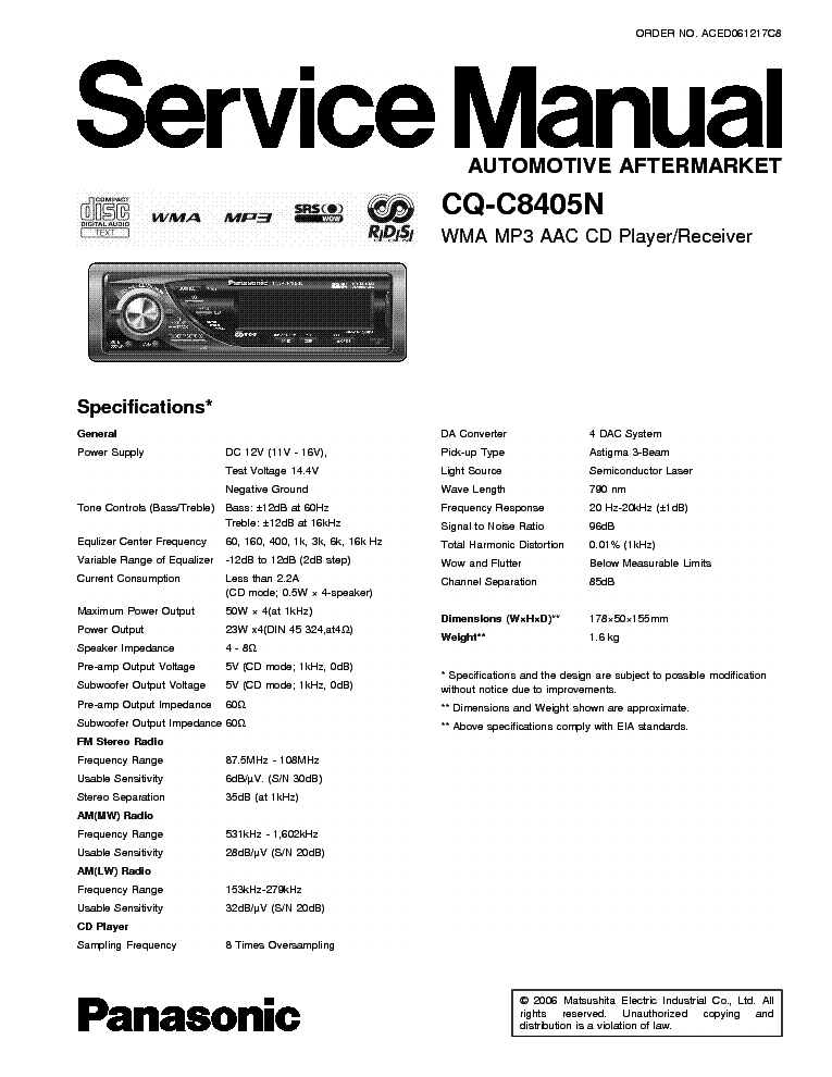 panasonic_cq c8405n.pdf_1 panasonic cq c8405n service manual download, schematics, eeprom panasonic cq vd7005u wiring diagram at readyjetset.co