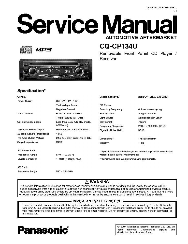panasonic_cq cp134u.pdf_1 panasonic cq cp134u service manual download, schematics, eeprom panasonic cq-cp134u wiring harness at gsmportal.co