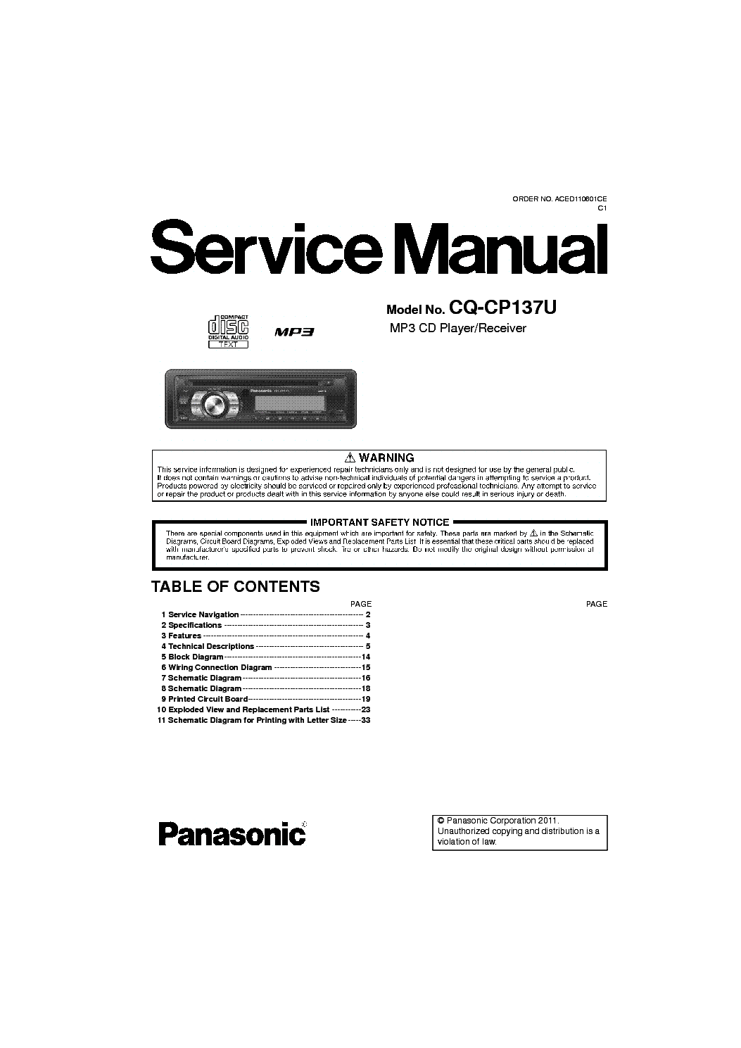 panasonic_cq cp137u.pdf_1 panasonic cq cp137u service manual download, schematics, eeprom panasonic cq-cp137u wiring harness at fashall.co