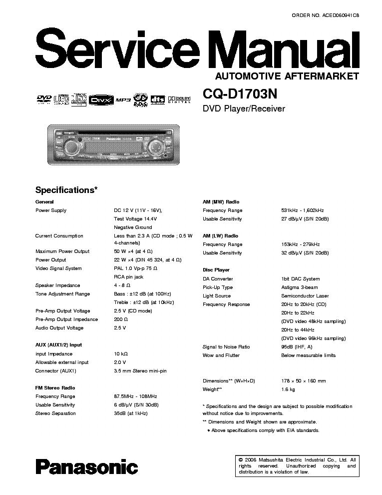 panasonic audi concert cq la1923l sm service manual free schematics eeprom repair