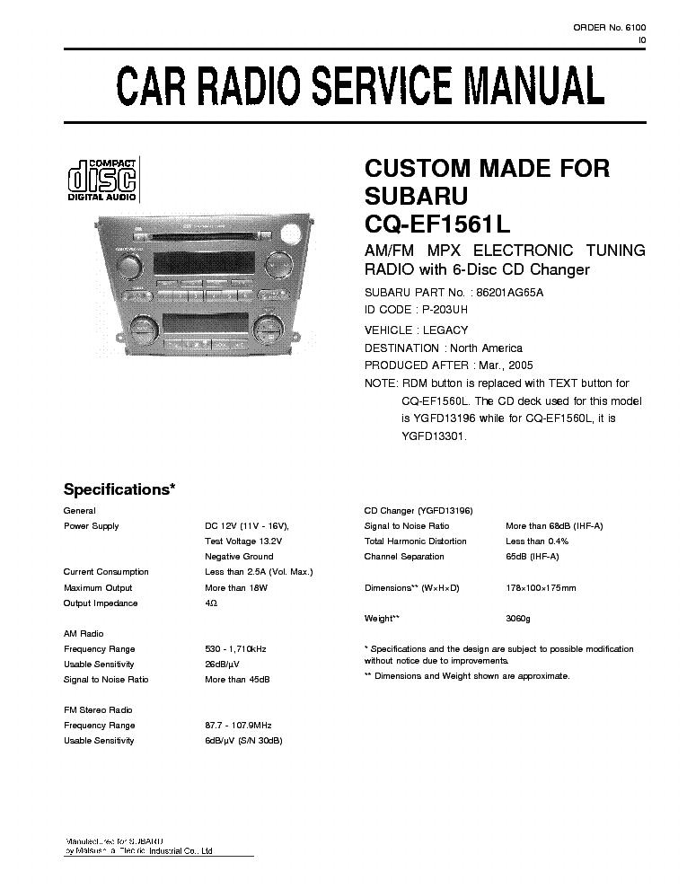PANASONIC CQ-EF1561L SUBARU