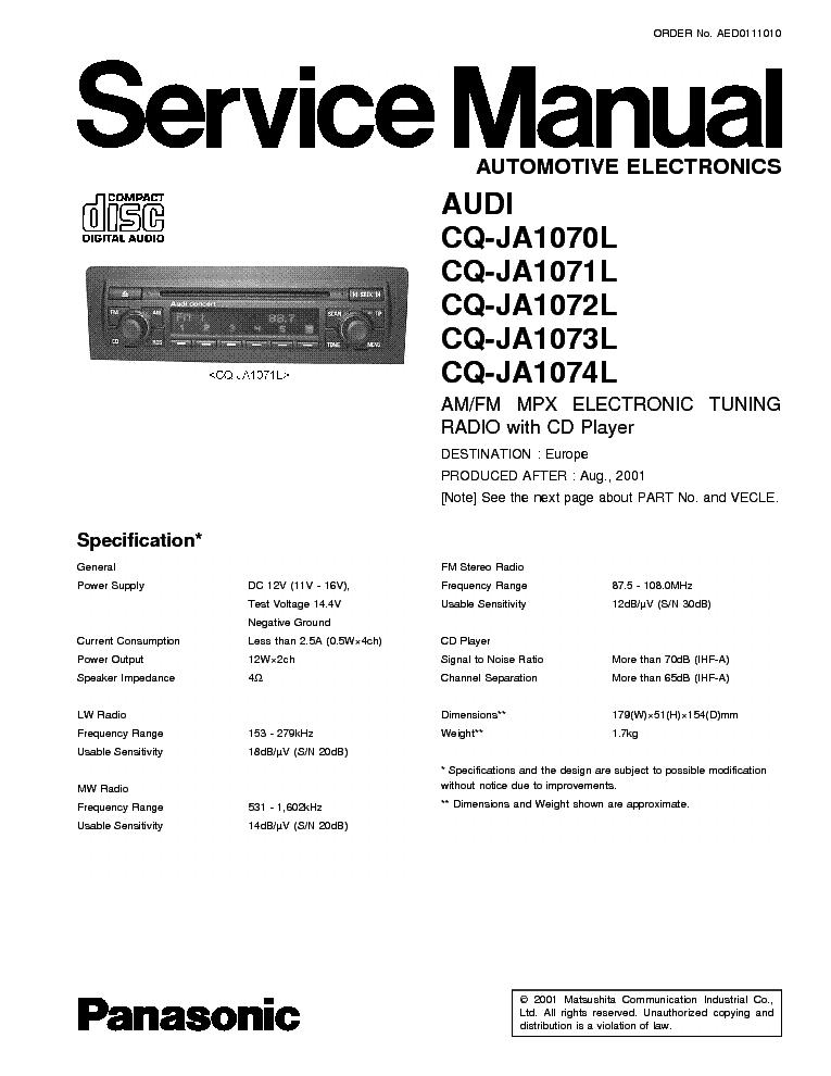 Panasonic Cq Rx400u Wiring Diagram