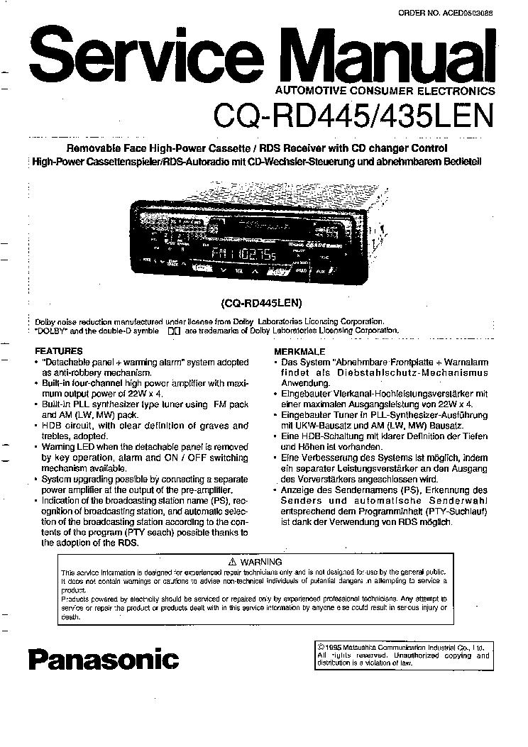 PANASONIC CQ-RD435LEN