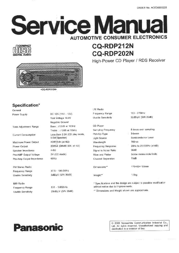 PANASONIC CQ-RDP212N CQ-RD202N