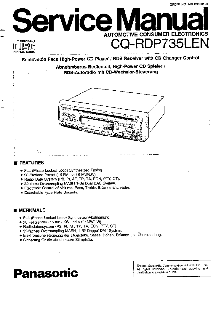Panasonic Cq Rx400u Wiring Diagram Microwave Parts Wire Car Stereo Also Cp134u Eeprom Service Manual Download Schematics Rx100u Installation