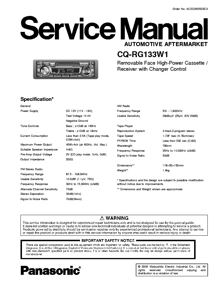 Panasonic cq-rg133w1 инструкция