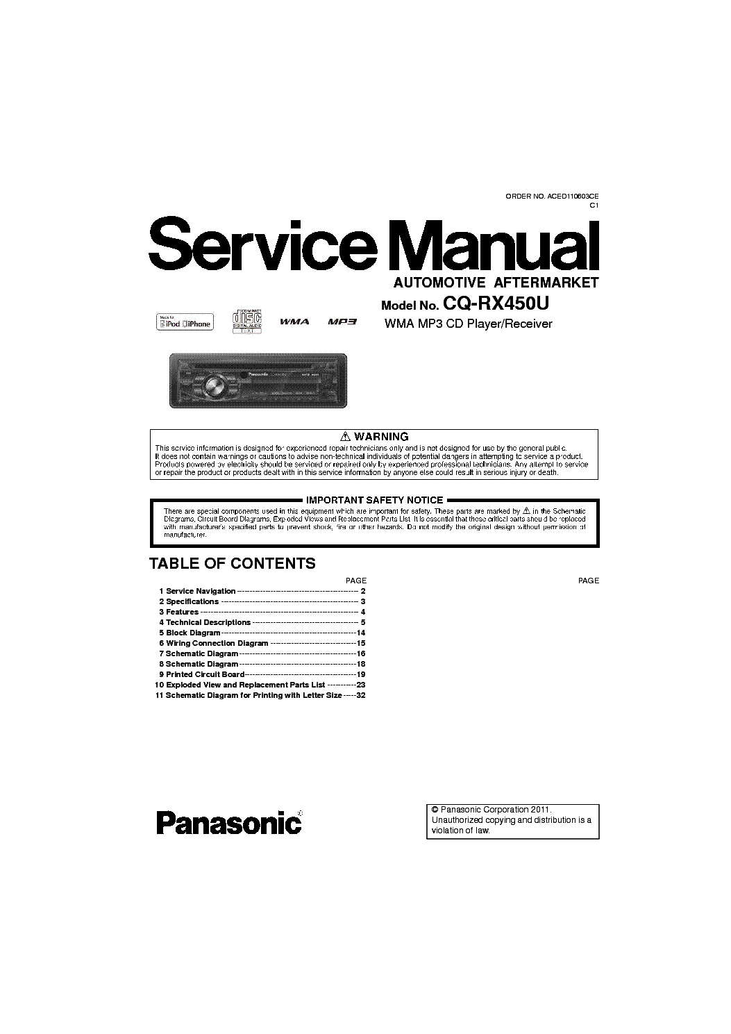 panasonic_cq rx450u.pdf_1 panasonic cq rx450u service manual download, schematics, eeprom panasonic wiring diagram at bakdesigns.co
