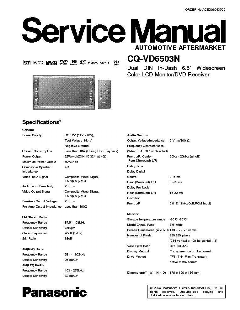 PANASONIC CQ-VD6503N service
