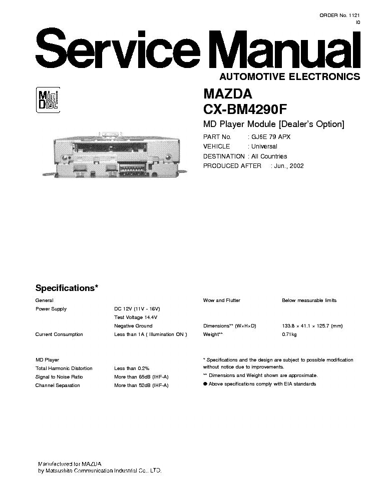 panasonic cx bm4290f mazda service manual download schematics rh elektrotanya com mazda 3 factory service manual mazda mx 5 factory service manual 2016
