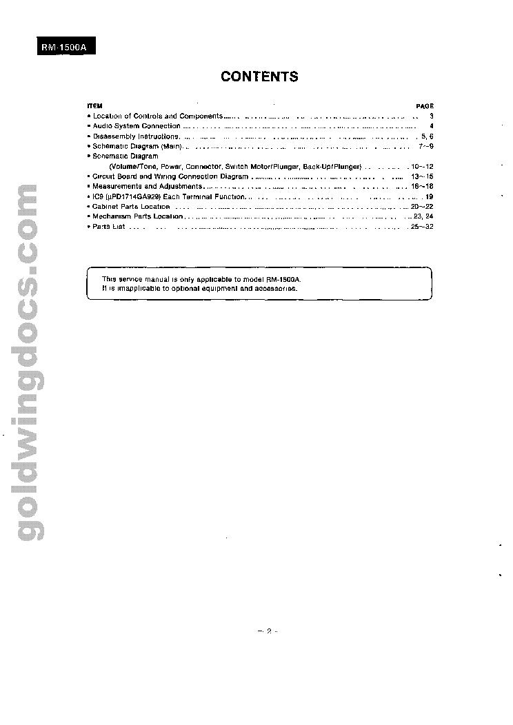panasonic honda goldwing gl1500 rm-1500a sm service manual (2nd page)