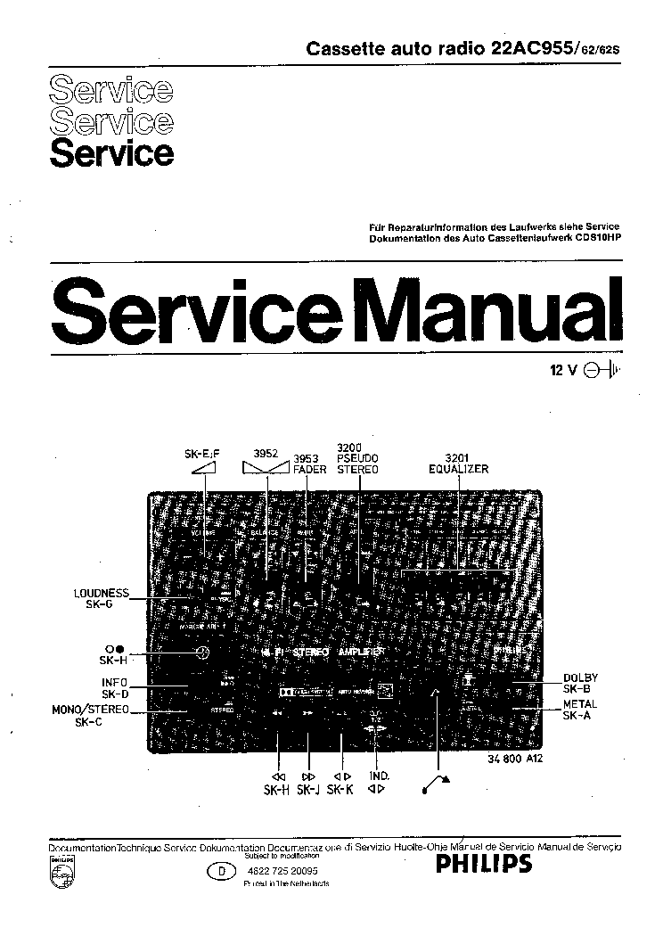 PHILIPS 22AC9555-62 62S service manual (1st page)