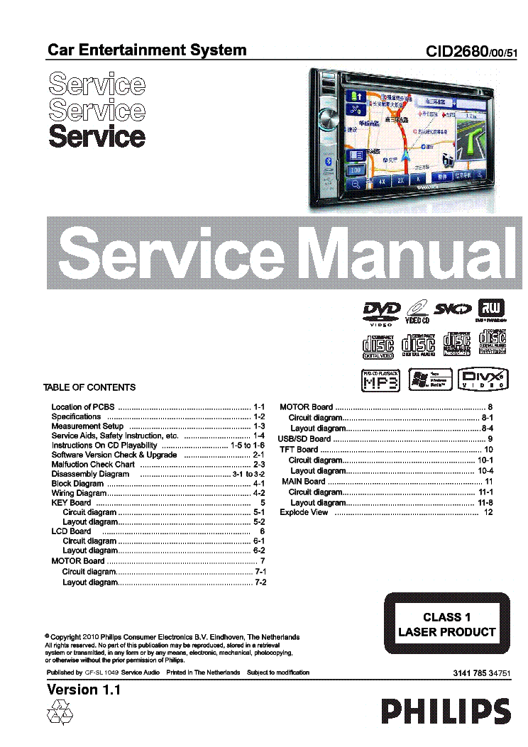 PHILIPS CID 2680 00 51 Service Manual download, schematics