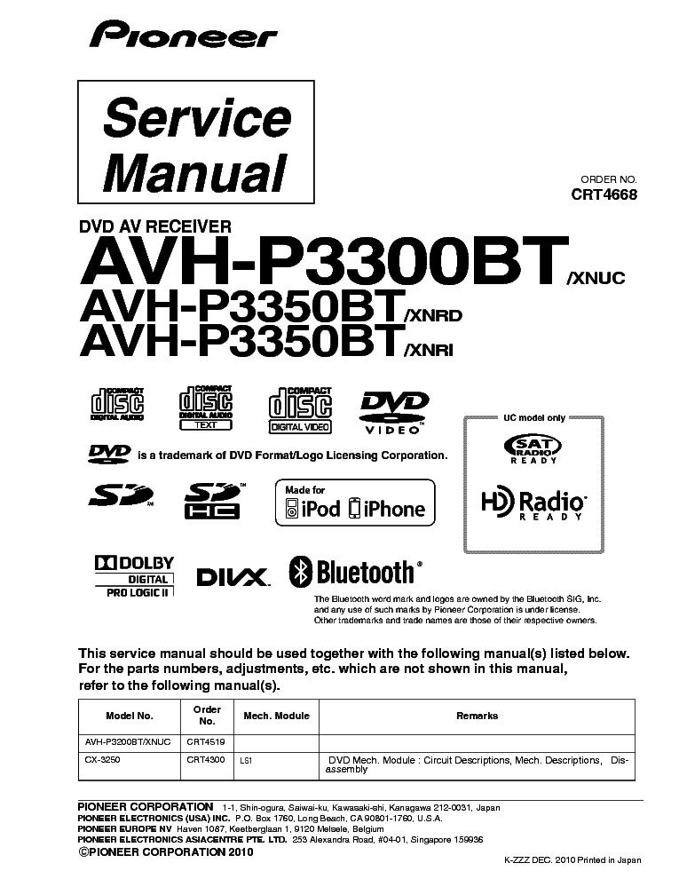 pioneer avh p3300bt avh p3350bt xnuc crt4668 sm service pioneer avh-p3300bt wiring diagram AVH-P3300BT Review