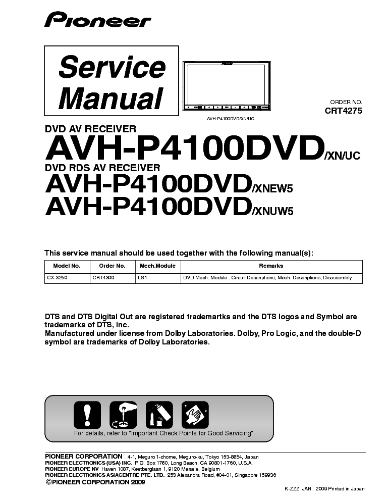 PIONEER AVH-P4100DVD Service Manual download, schematics, eeprom ...