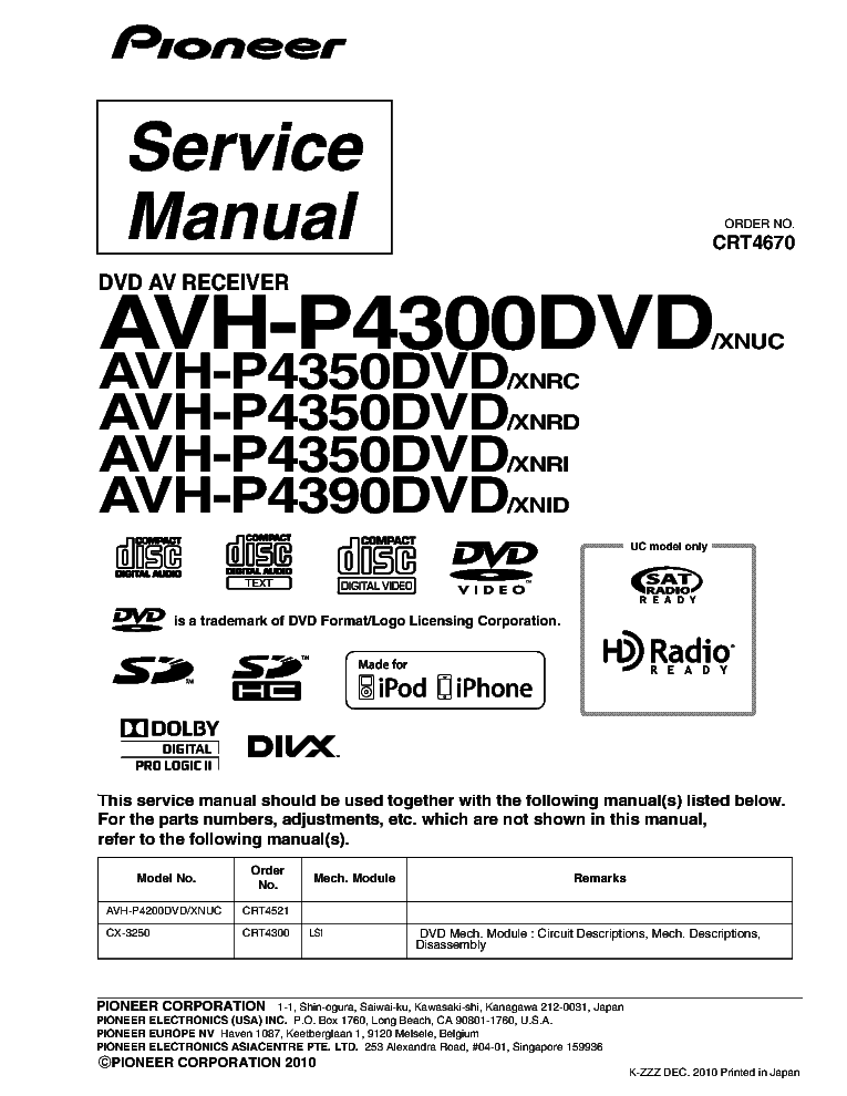 PIONEER    AVH   P4300DVD P4350DVD P4390DVD Service Manual download  schematics  eeprom  repair info