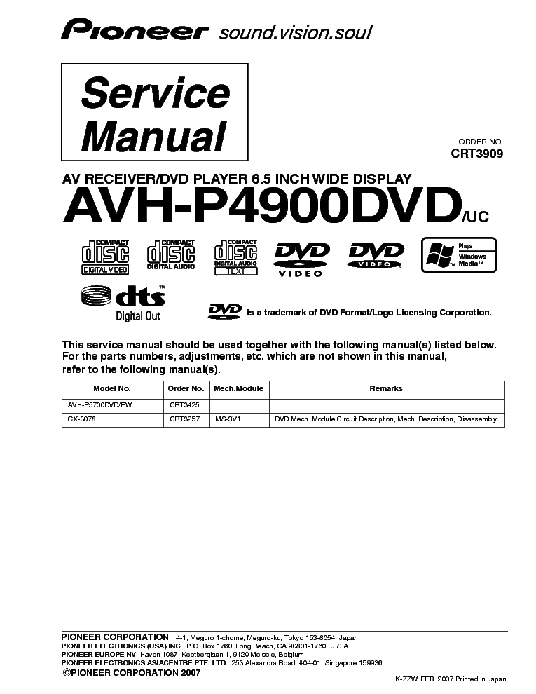 pioneer avh p4900dvd exploded views and parts list service manual schematics eeprom