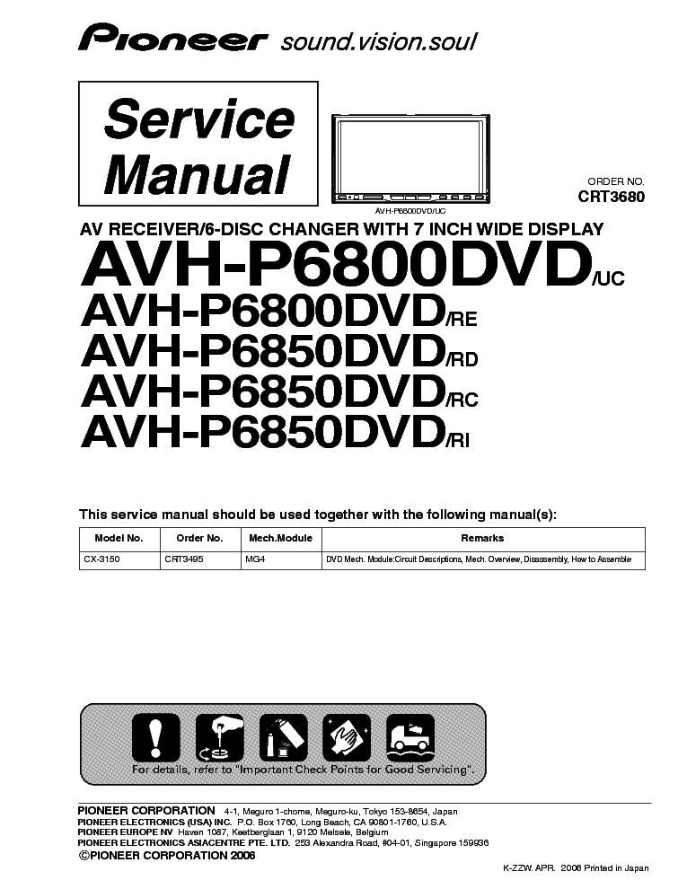 Pioneer avh p6800dvd инструкция
