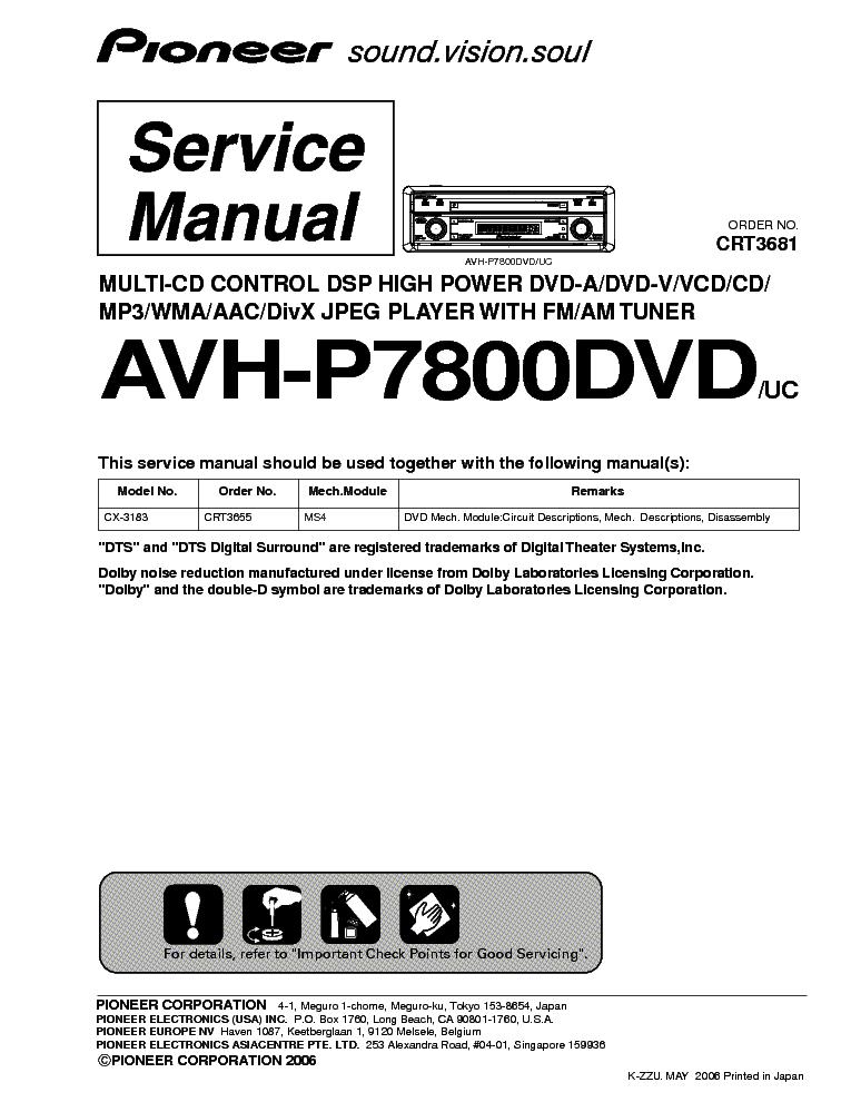 pioneer deh p6800mp crt3564 sm service manual download schematics rh elektrotanya com Pioneer DEH-P6800MP Repair Pioneer DEH-P6800MP Repair