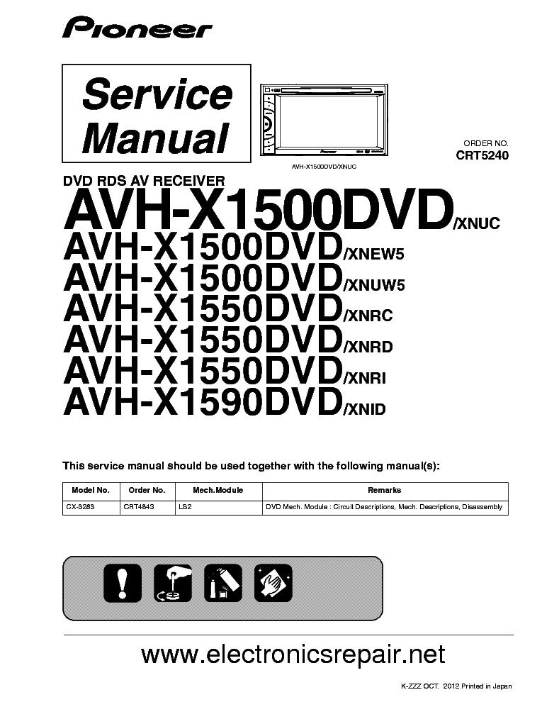 pioneer avh x1500 x1550 x1590dvd service manual free schematics eeprom repair info