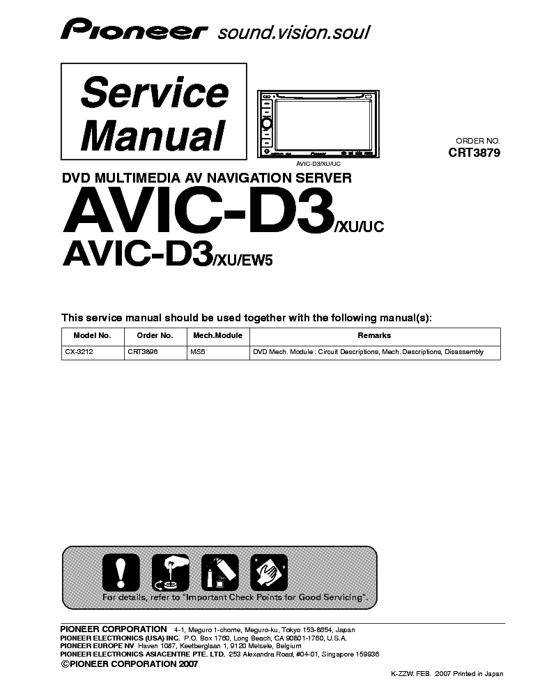 pioneer avic d3 service manual schematics eeprom repair info for electronics experts