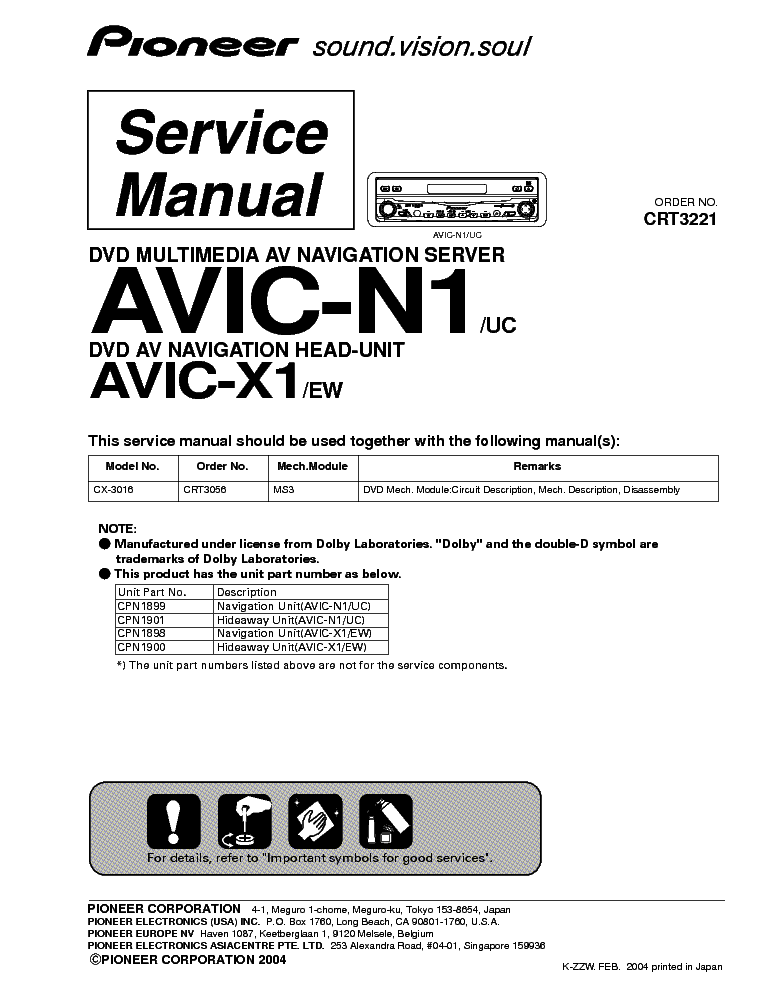 Pioneer avic n1 avic x1 crt3221 service manual download schematics pioneer avic n1 avic x1 crt3221 service manual 1st page cheapraybanclubmaster Gallery