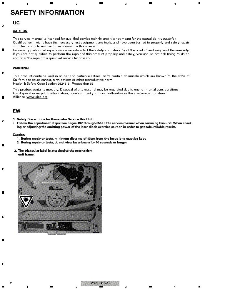 PIONEER AVIC-N1 AVIC-X1-CRT3221 Service Manual download