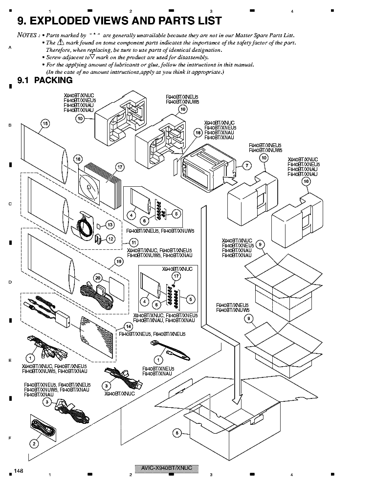 PIONEER AVIC-X940BT SPARE PARTS service manual (1st page)