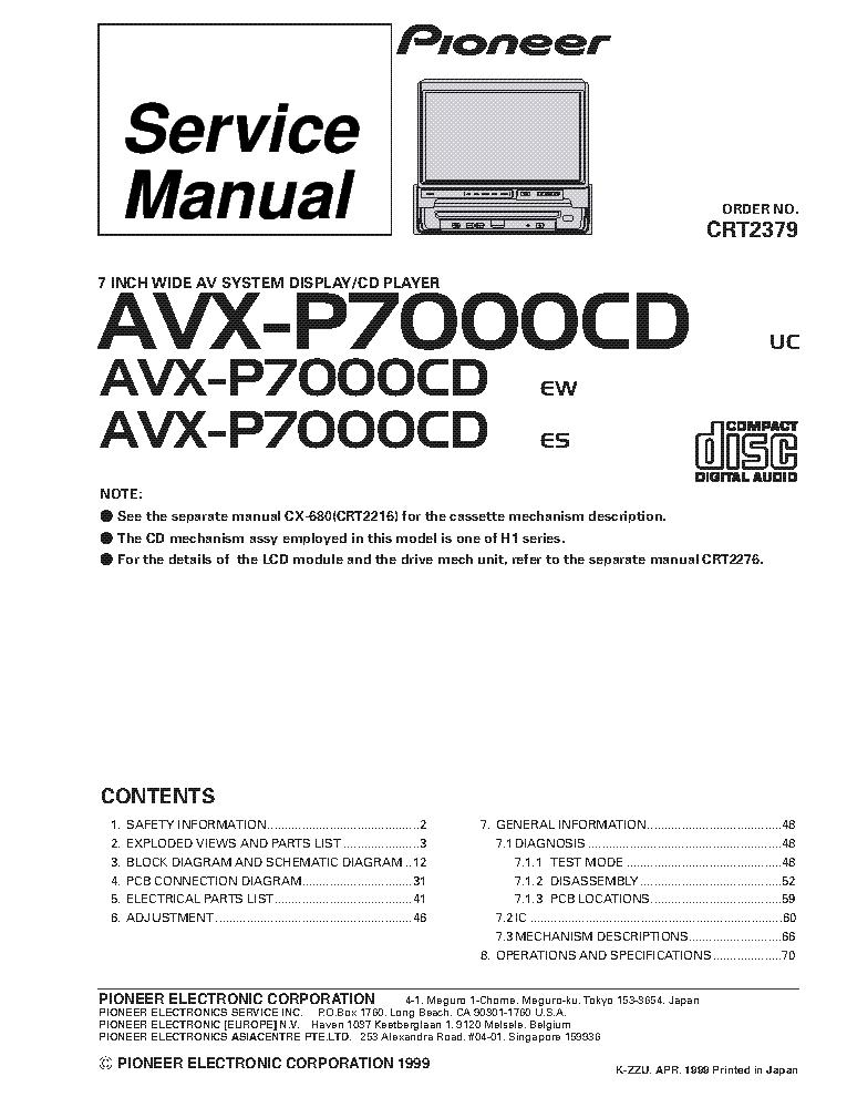pioneer avxp7000cd lcd av system service manual download