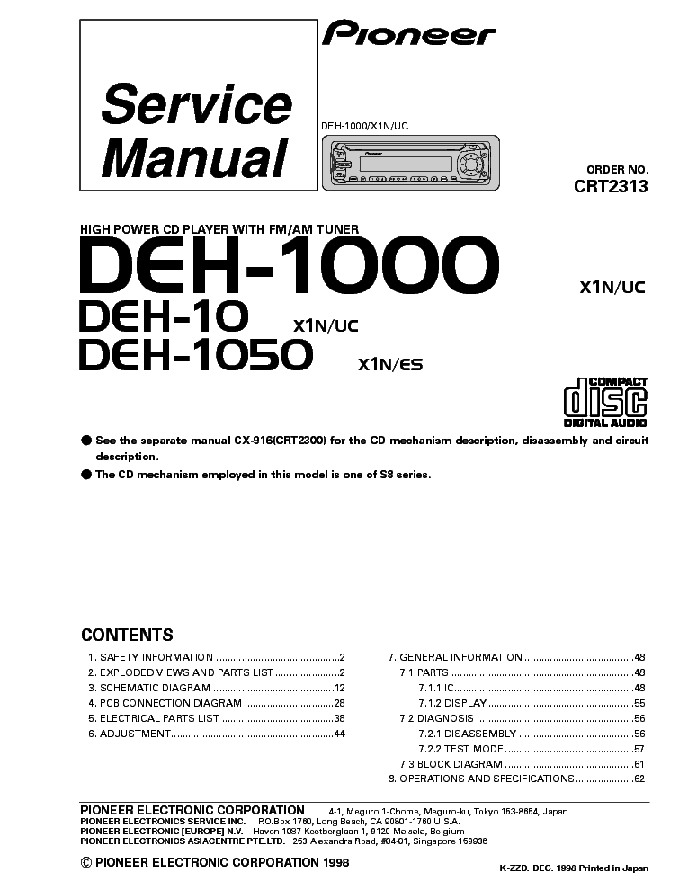 Wiring Diagram For Pioneer Deh 6400