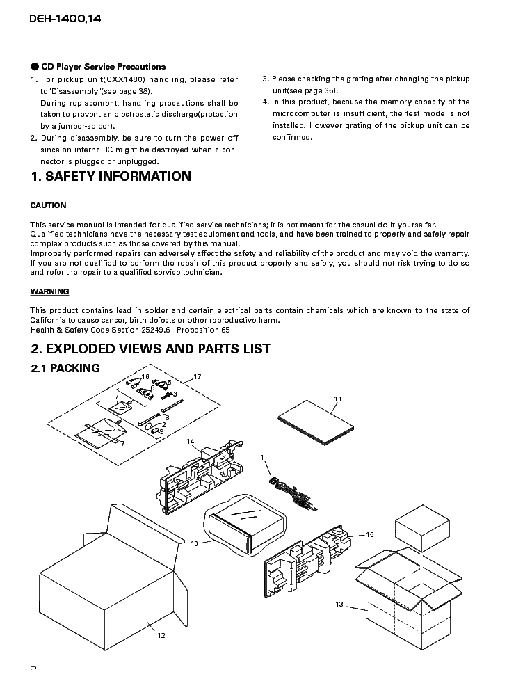 PIONEER DEH-1400,14 Service Manual download, schematics
