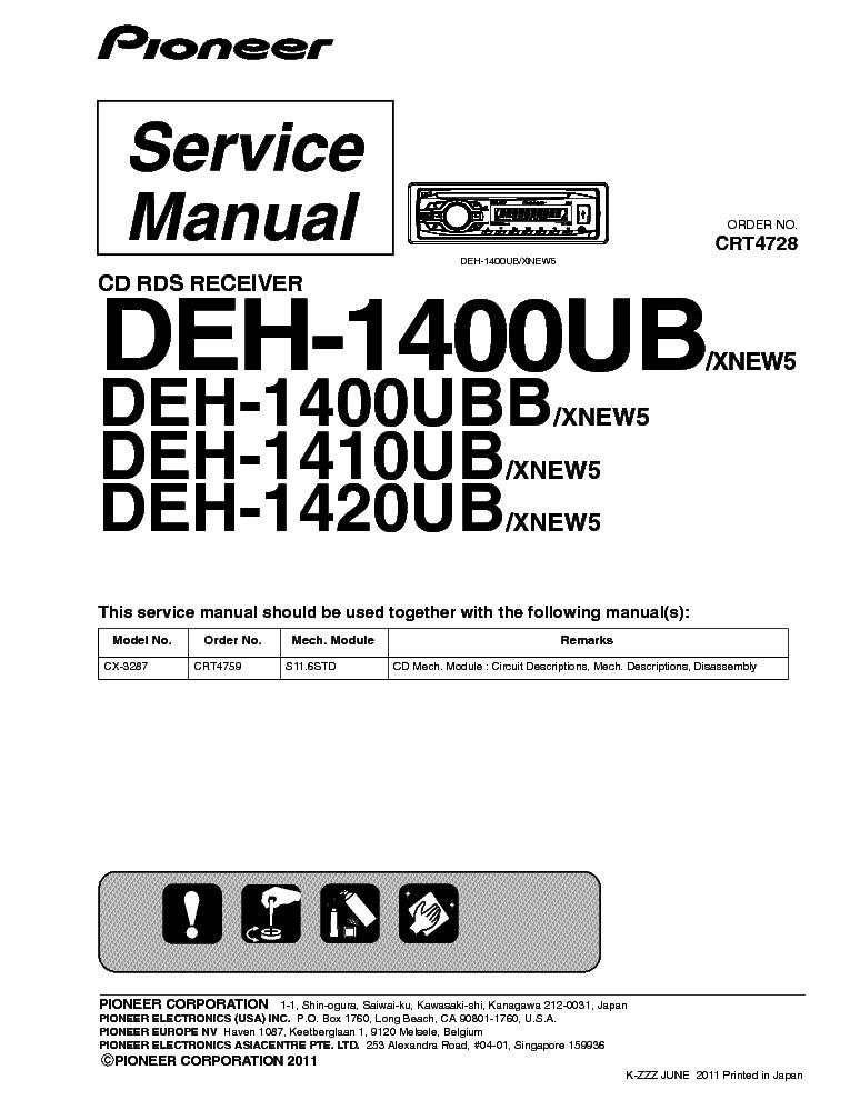 pioneer deh 1400 ub инструкция