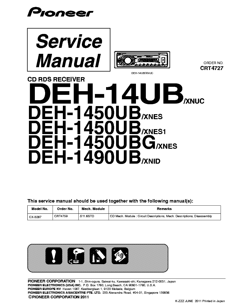 PIONEER DEH-14UB 1450UB 1490UB Service Manual download, schematics ...