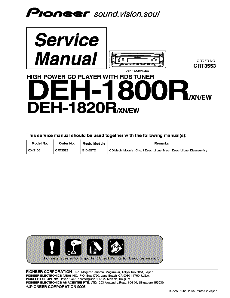 pioneer deh 1800r 1820r crt3553 sm service manual schematics eeprom repair info for
