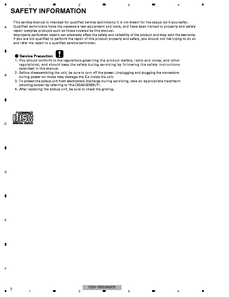manuals pioneer deh 1850xu repair service manual pdf full