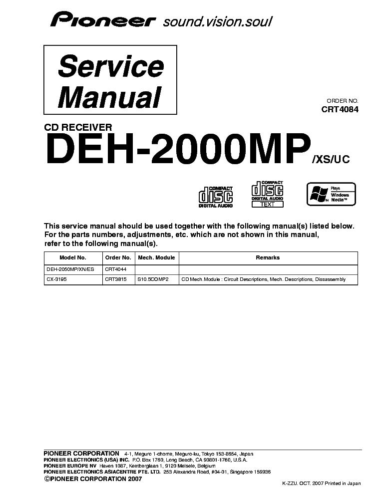 pioneer deh 2000mp exploded views and parts list service manual schematics eeprom